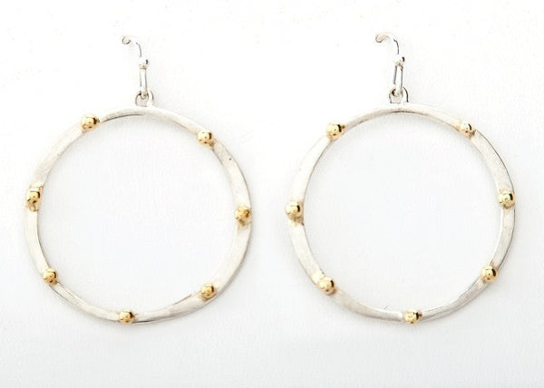 Sterling hoops, 18k accents