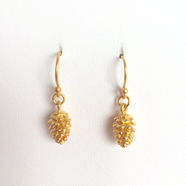 Pine Cone Earrings, 24k