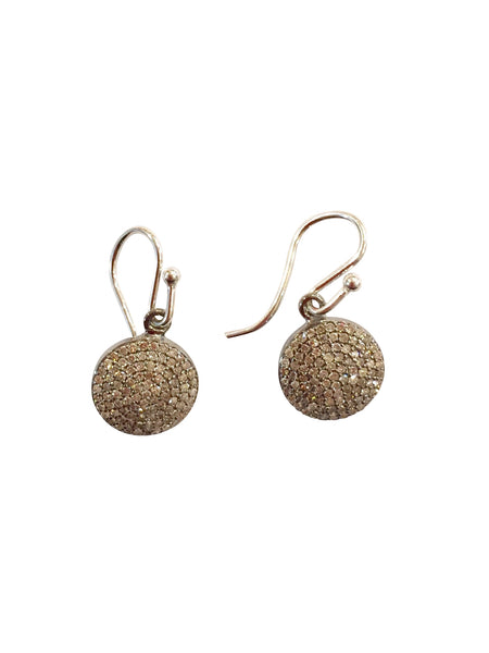 Baby diamond full moon earrings sterling