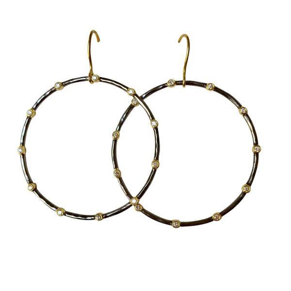 'Waterwheel' Diamond Hoop earrings