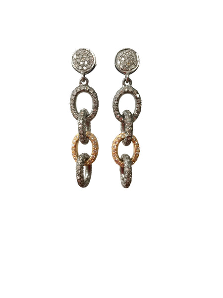 Diamond link chain earrings