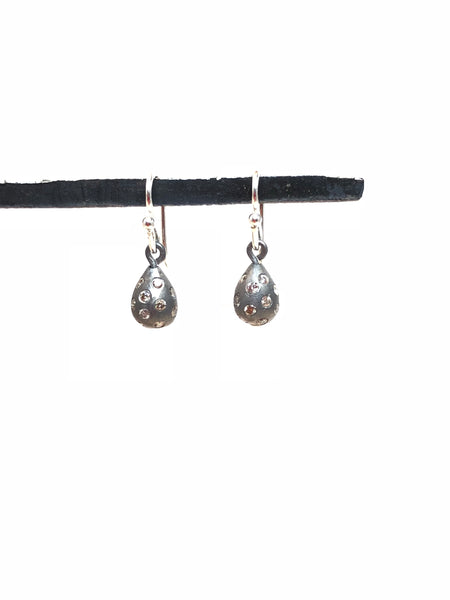 Champagne diamond, sterling drop earring