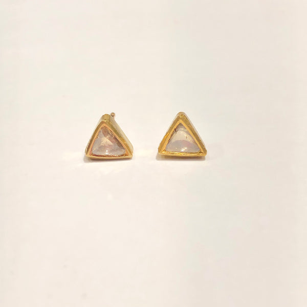 18k diamond triangle earrings