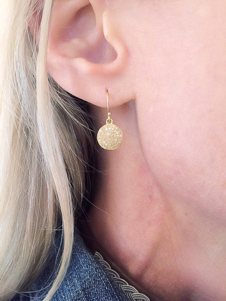 18k Diamond baby full moon earrings