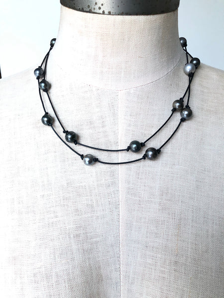 Tahitian pearls on leather 36""