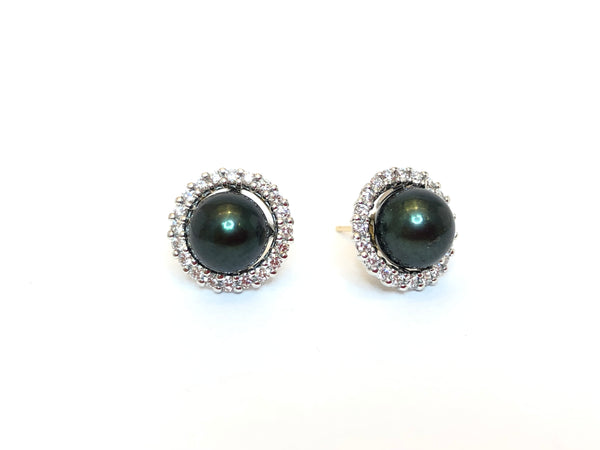 14K White 5/8 CTW Diamond Earring Jackets for Pearl