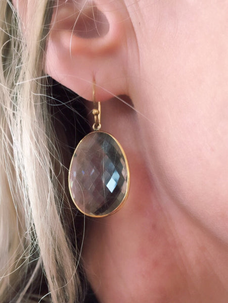 Smokey quartz shield earrings