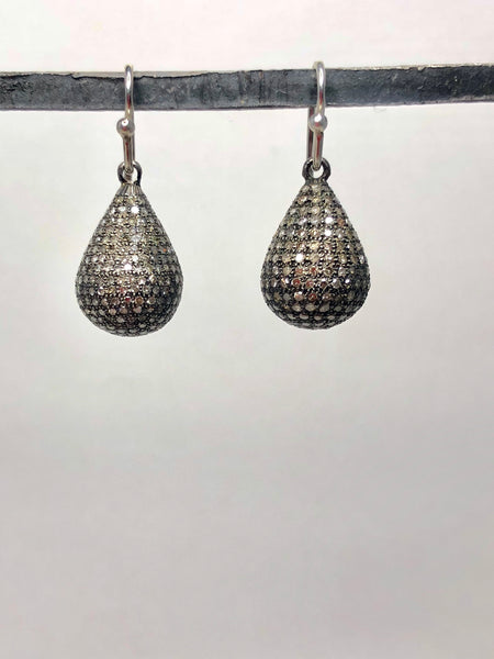 Large diamond pave drop earrings