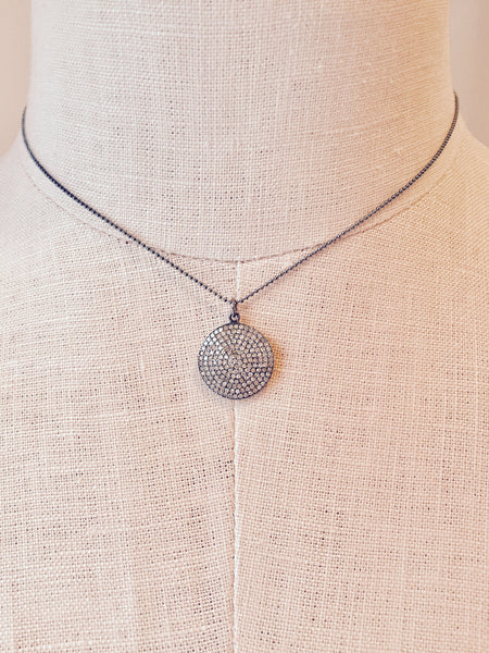 Diamond Disc Full Moon Pendant