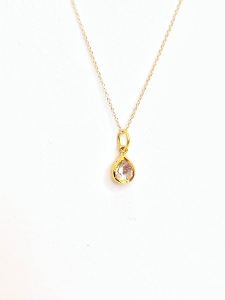 Teardrop diamond pendant, 18 K