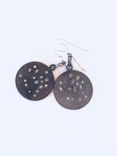 """Scattered showers"" diamond disc earrings"
