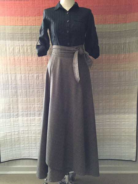 Skirt wrap cashmere/wool suiting