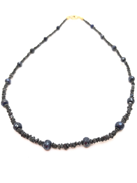 Raw black diamond - sapphire Necklace