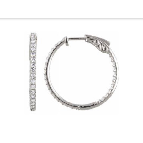 CZ sterling inside outside hinged hoop earrings