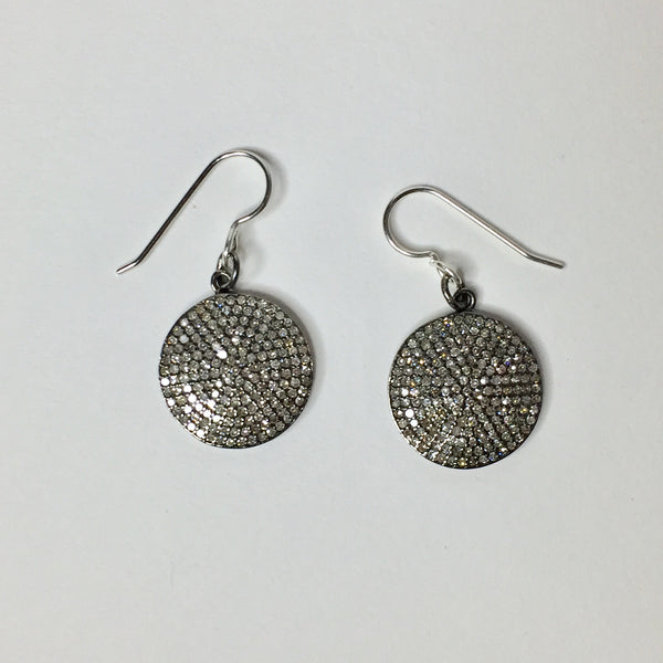 Diamond Full Moon Earrings, large sterling