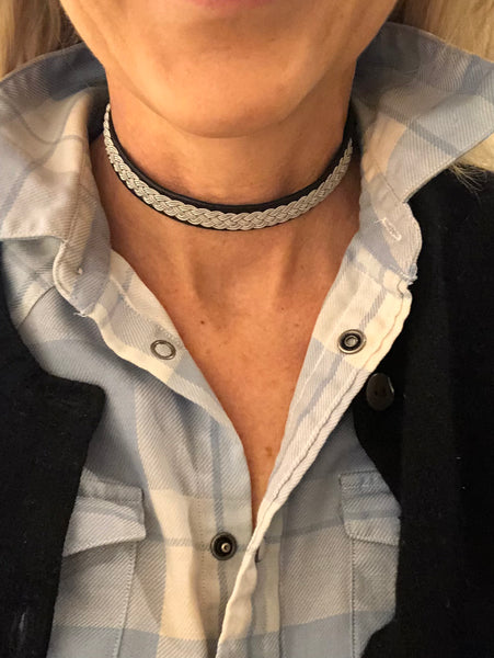 Black Leather Choker -Leather Necklace