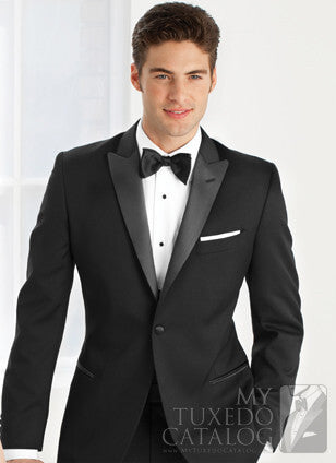 Rent the Ultra-Slim Black Peak 1 Button Tuxedo Online by Ike Behar®