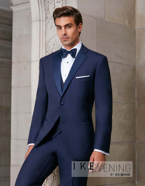 Rent the Slim Fit Navy Blue Sebastian Slim Tuxedo by Ike Behar® Online