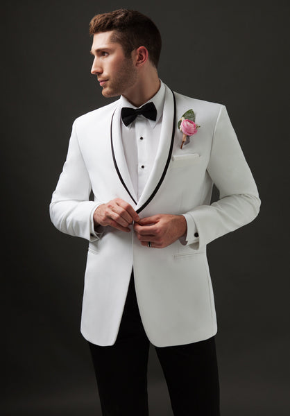 White Shawl Lapel Tuxedo with Black Trim