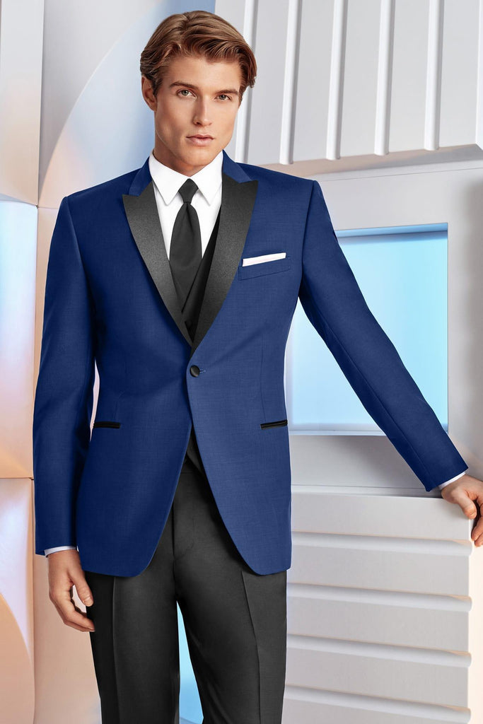 Rent the Royal Blue Cobalt and Black Peak Lapel Ultra-Slim Tuxedo Online