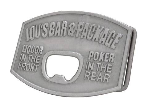 Mens Lous Bar & Package Bottle Opener Funny Belt Buckle Silver