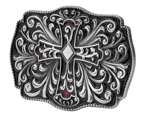 Womens Ornate Gothic Cross Crucifix Diamond Belt Buckle Black