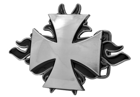 Mens Maltese Cross Flames Gothic Enameled Belt Buckle Silver
