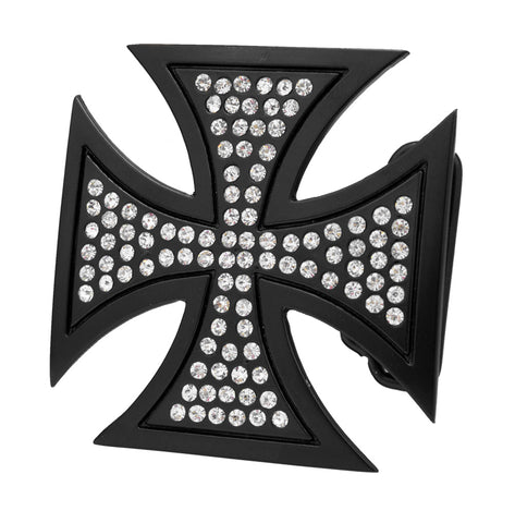 Womens CZ Jeweled Maltese Cross Gothic Punk Belt Buckle Black