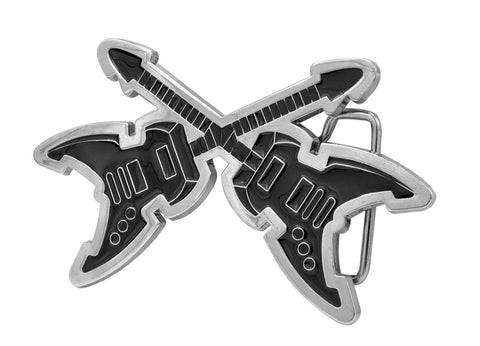 Unisex Dueling Electric Guitars Rock & Roll Music Belt Buckle Black