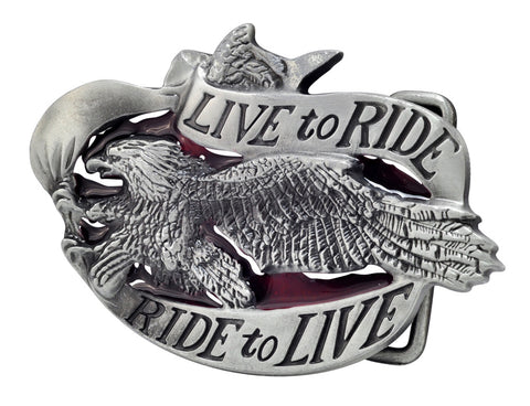 Unisex Live To Ride Motorcycle Biker Eagle Belt Buckle Silver Red