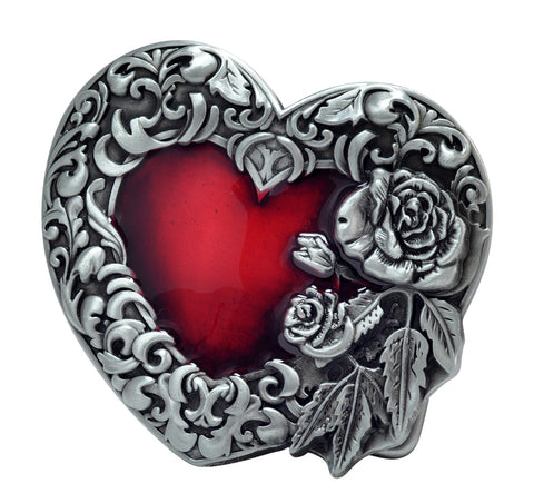 Unisex Enamel Heart W/ Floral Rose Flowers Belt Buckle Red