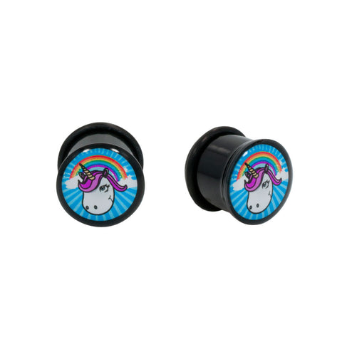 Unicorn Rainbow Single Flared Acrylic Plug O-Ring Gauge Pair CHOOSE YOUR SIZE