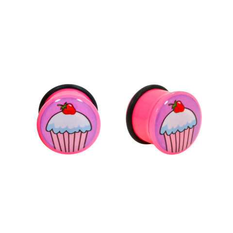 Pink Cupcake Single Flared Acrylic Ear Plugs O-Ring Gauge Pair CHOOSE YOUR SIZE