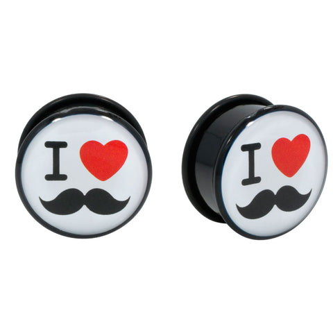 I Heart Mustaches Single Flared Acrylic Plug O-Ring Gauge Pair CHOOSE YOUR SIZE