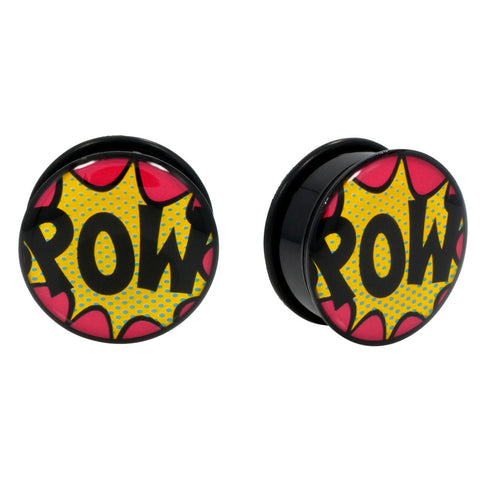 Comic book POW! Single Flared Acrylic Ear Plugs BLK O-Ring Pair CHOOSE YOUR SIZE