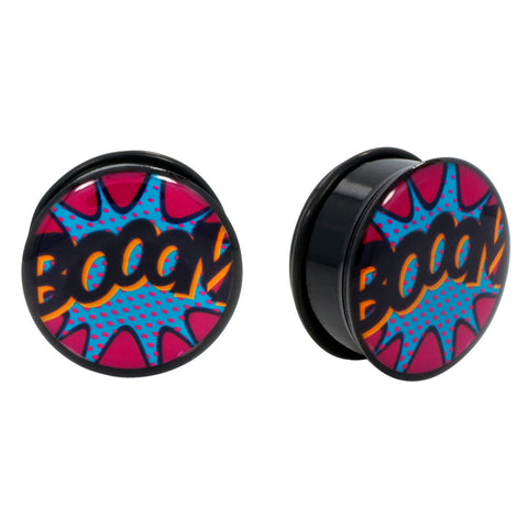 Comic book BOOM! Single Flared Acrylic Plugs O-Ring Gauge Pair CHOOSE YOUR SIZE