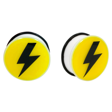 Yellow ThunderBolt Single Flared Acrylic Plug O-Ring Gauge Pair CHOOSE YOUR SIZE