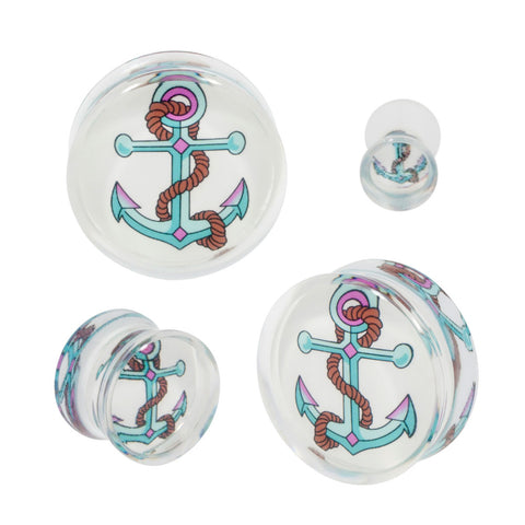 Large Boat Anchor Double Flared Acrylic Ear Plug Flash Art Pair CHOOSE YOUR SIZE