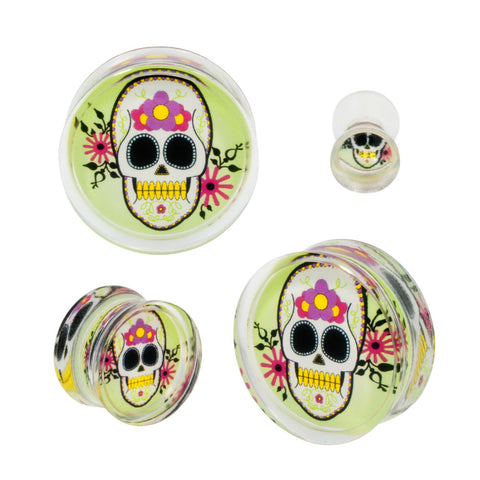 Flash Rose Skull Double Flared Acrylic Plug Tattoo Gauge Pair CHOOSE YOUR SIZE