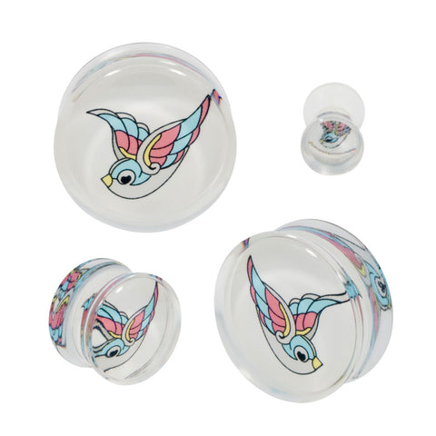 Tattoo Birds Swallow Double Flared Acrylic Plugs Flash Art Pair CHOOSE YOUR SIZE