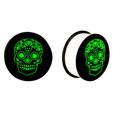Acrylic GLOW IN THE DARK Skull Single Flared Plugs Ear Earlet Black #1 - Piercing Pros