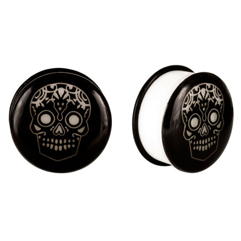 Acrylic GLOW IN THE DARK Skull Single Flared Plugs Ear Earlet Black #1