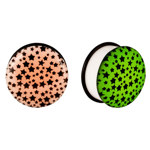 Acrylic GLOW IN THE DARK Stars #1 Single Flared Plugs Ear Earlet Pink - Piercing Pros