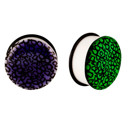 Acrylic GLOW IN THE DARK Numbers Single Flared Plugs Ear Earlet Purple - Piercing Pros