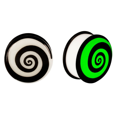 Acrylic GLOW IN THE DARK Spiral Single Flared Plugs Ear Earlet Purple - Piercing Pros