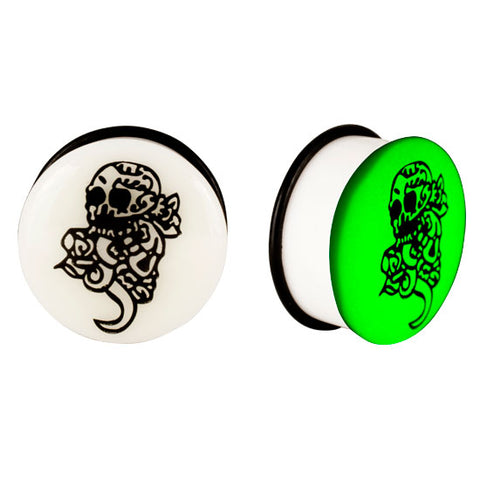 Acrylic GLOW IN THE DARK Skull Single Flared Plugs Ear Earlet Black #2 - Piercing Pros