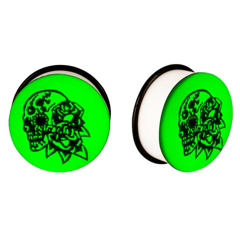 Acrylic GLOW IN THE DARK Skull Flowers Single Flared Plugs Ear Earlet Black - Piercing Pros