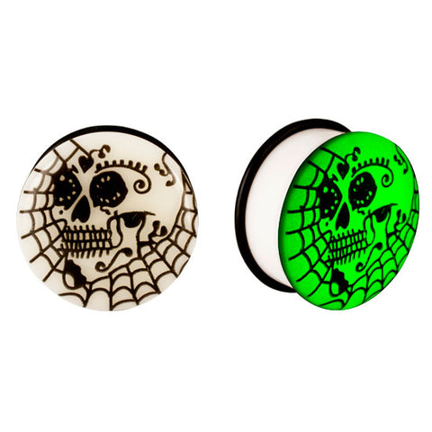 Acrylic GLOW IN THE DARK Skull Web Single Flared Plugs Ear Earlet Black - Piercing Pros