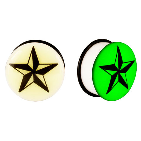 Acrylic GLOW IN THE DARK Star Single Flared Plugs Ear Earlet Black - Piercing Pros