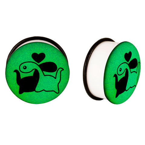 Acrylic GLOW IN THE DARK Dinosaur Love #1 Single Flared Plugs Ear Earlet Black - Piercing Pros